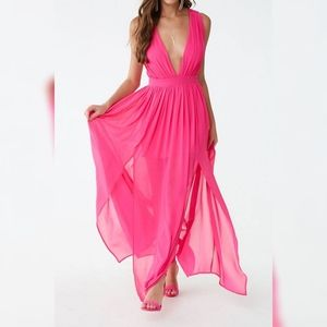 Forever 21 Hot Pink Chiffon M-Slit Gown